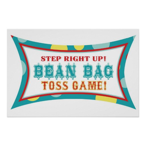 Bean Bag Toss Booth Sign Carnival Circus Birthday Poster