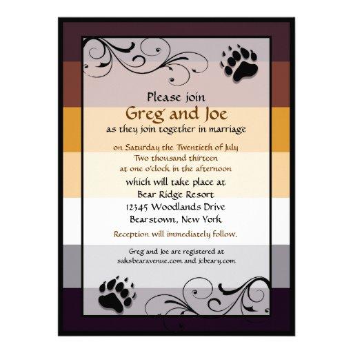 "Bear Pride Custom Gay Wedding Invitations 6.5"" X 8.75"