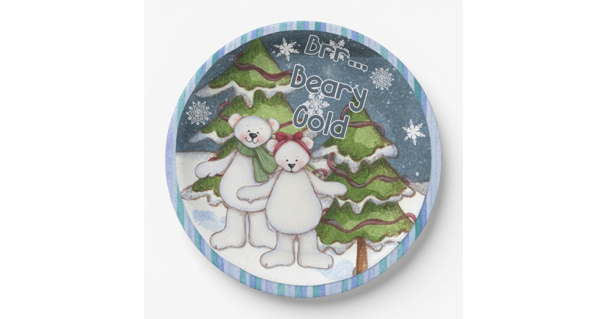 Beary Cold Snowflake Christmas Paper Plate | Zazzle