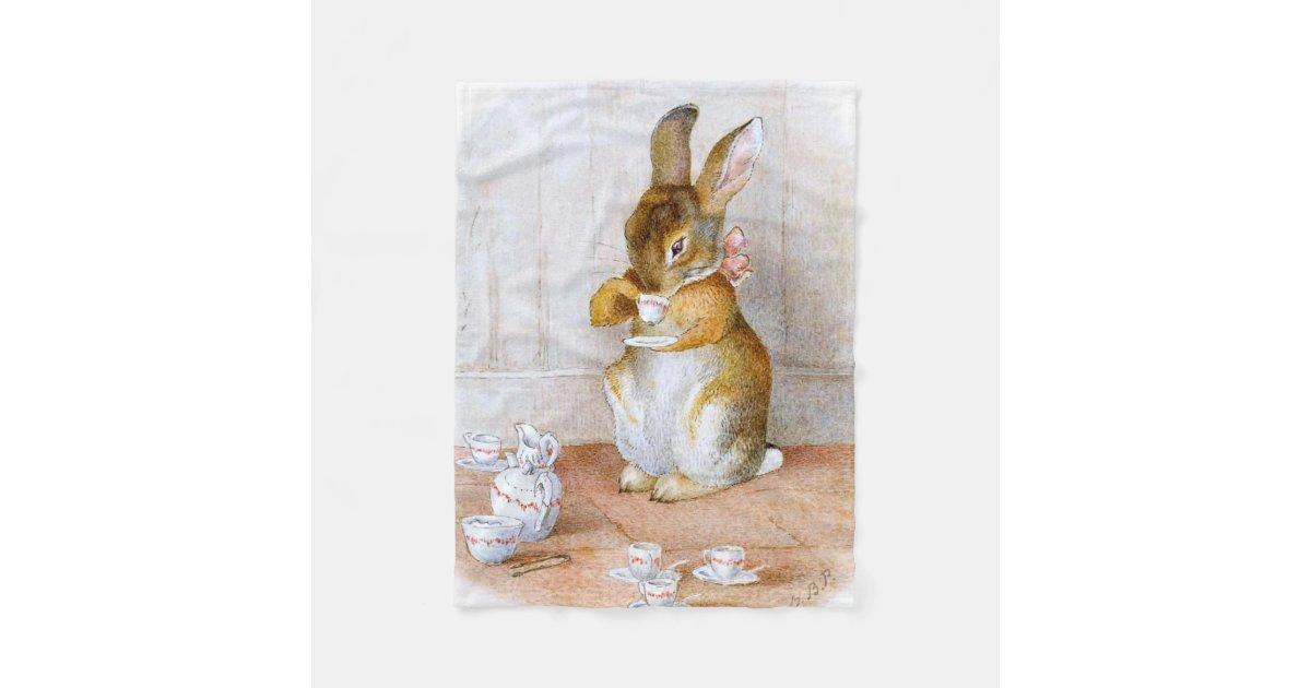 Beatrix Potter Bunny Girl Drinking Tea Fleece Blanket