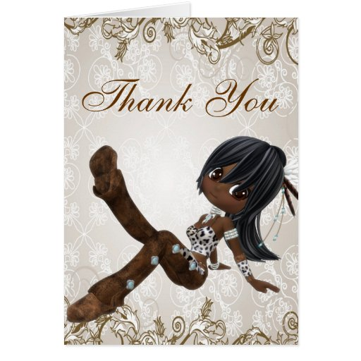 beautiful african american girl thank you card  zazzle