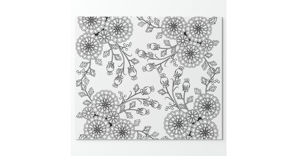 beautiful black white floral coloring paper wrapping paper zazzle. Black Bedroom Furniture Sets. Home Design Ideas
