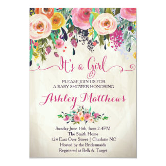 Floral Baby Shower Invitations Amp Announcements Zazzle