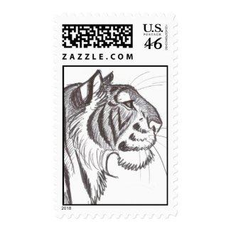 Beautiful Tiger drawing postage stamp stamp