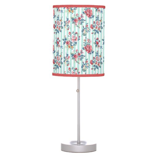 Girly Lamps For Bedroom: Beautiful Trendy Girly Vintage Blue Stripes Roses Desk