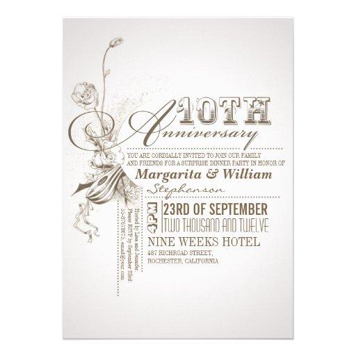 "10th Wedding Anniversary Invitations: Beautiful Typography 10th Anniversary Invitations 5"" X 7"