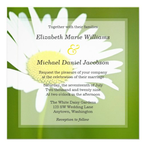 "White Daisy Wedding Invitation: Beautiful White Daisy Wedding Invitations 5.25"" Square"