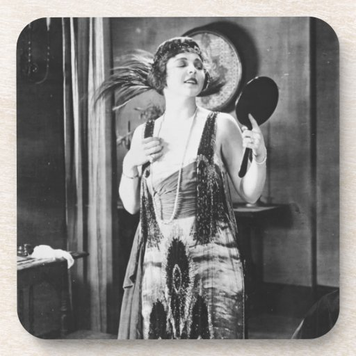 Beautiful Woman Flapper Dress 1920s Drink Coaster | Zazzle