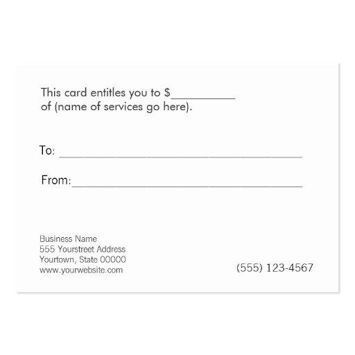 Beauty Natural Wellness Retail Gift Certificate Business Card