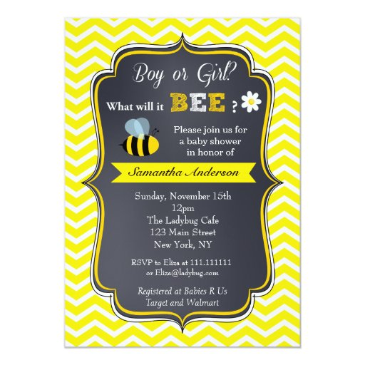 Bee Gender Reveal Baby Shower Invitations Zazzle