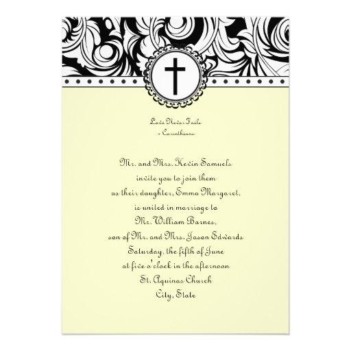 Christian Wording For Wedding Invitations: Beige Damask Christian Wedding Invitation