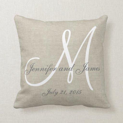 Linen Monogram Throw Pillow: Beige Linen Gray White Monogram Wedding Keepsake Throw