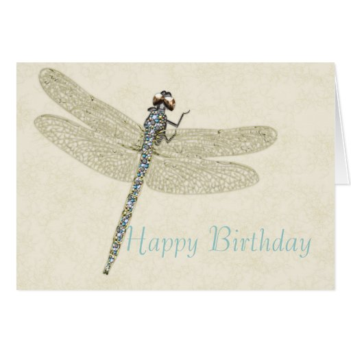 Bejeweled Dragonfly Happy Birthday Greeting Cards