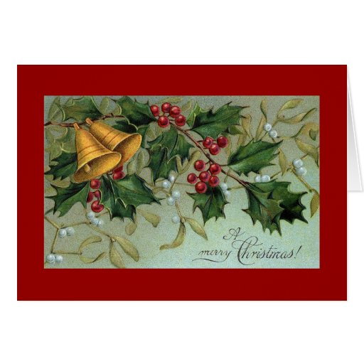 Bells Of Holly Christmas Greeting Card