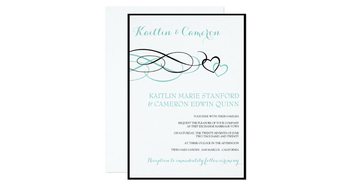 Dark Blue Wedding Invitations: Beloved (Black & Tiffany Blue) Wedding Invitations