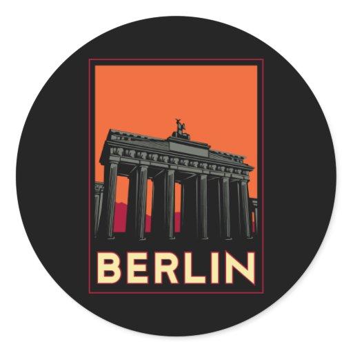berlin germany oktoberfest art deco retro travel classic round sticker zazzle. Black Bedroom Furniture Sets. Home Design Ideas