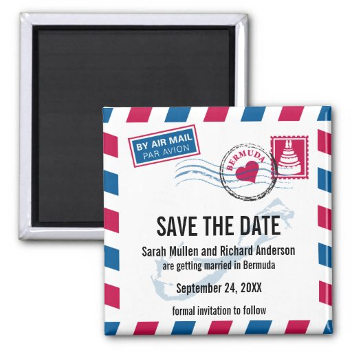 Bermuda Air Mail Wedding Save The Date 2 Inch Square