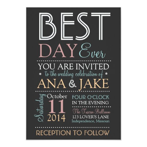 Best Wedding Invitations Ever: BEST DAY EVER Wedding Invitation- COLORFUL Edition Card
