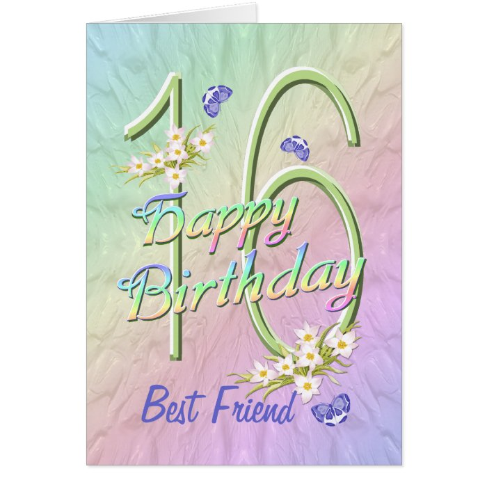 Best Friend 16th Birthday Butterfly Garden Card
