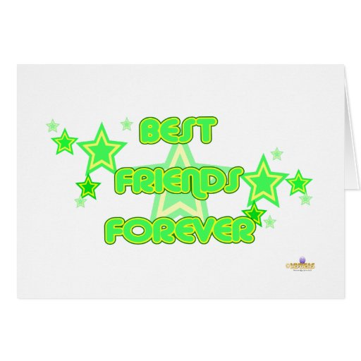 Best Friends Forever Green Yellow Stars Card | Zazzle