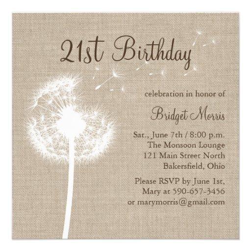 Best Wishes 21st Birthday Invitation On Burlap 5.25