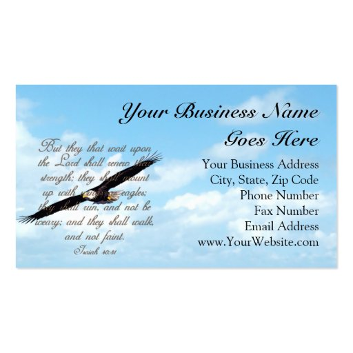 Verse Wings As Eagles Business Card
