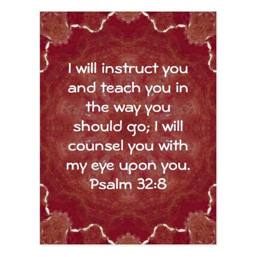 Psalms 16 8 Inspirational Image: Bible Verses Inspirational Quote Psalm 32:8 Postcard
