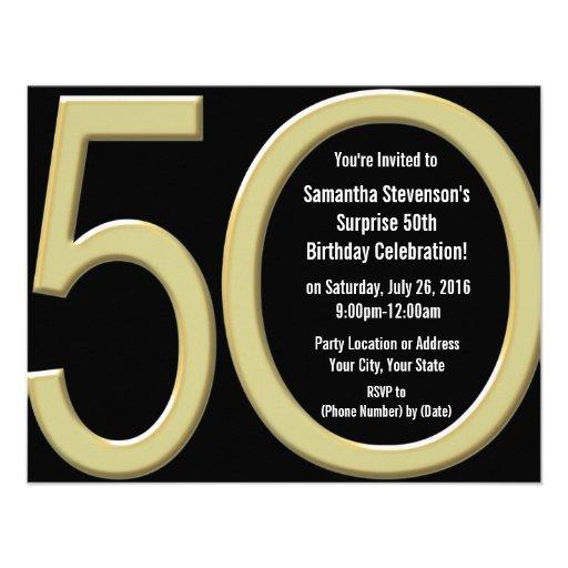 Big 5 0 Gold Party Invitations