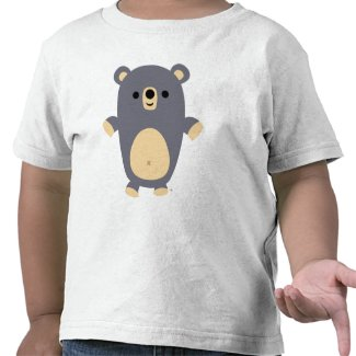 Big Blue Cartoon Bear Kids T-shirt shirt