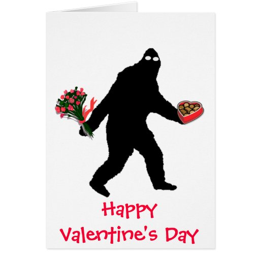 Bigfoot Happy Valentine's Day Greeting Cards