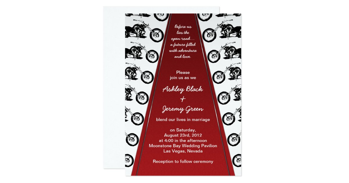 Biker Wedding Invitations: Biker Or Motorcycle Red Carpet Wedding Invitation