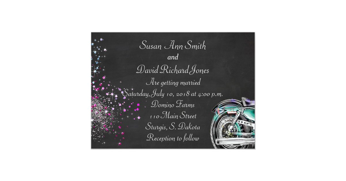Biker Wedding Invitations: Biker Wedding Invitation With Motorcycle
