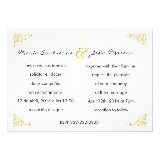 "Wedding Invitation Cards Wordings In English: Bilingual English Spanish Wedding Invitation 5"" X 7"