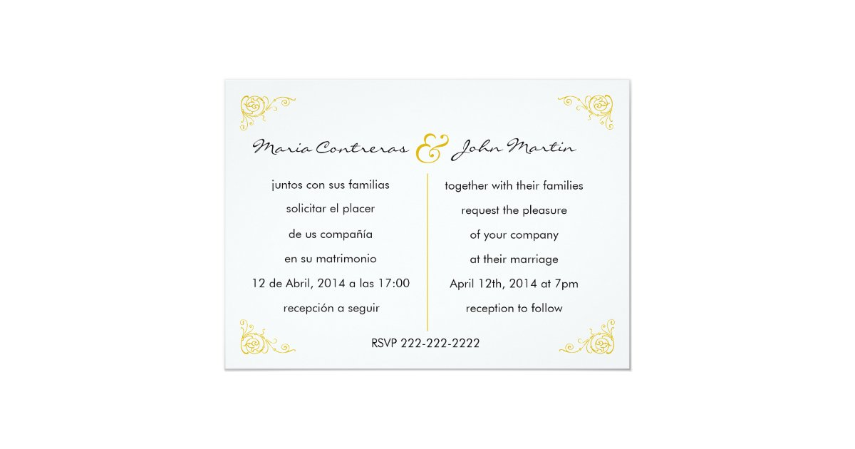 Invitations In Spanish For Wedding: Bilingual English Spanish Wedding Invitation