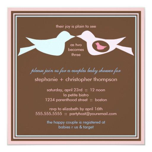 Family Baby Shower Invitations: Bird Family Couples Baby Shower Invitation
