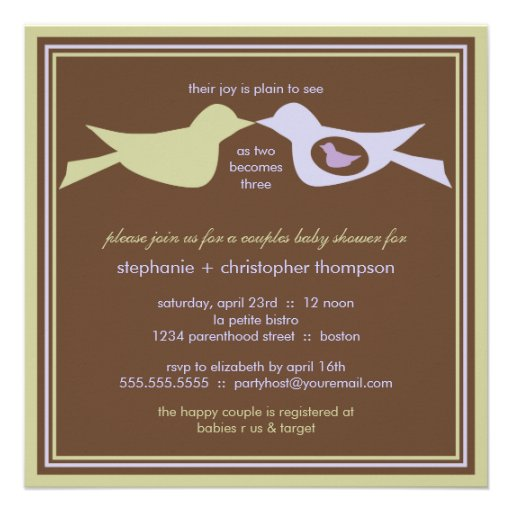 Family Baby Shower Invitations: Bird Family Couples Baby Shower Lilac & Sage Invites