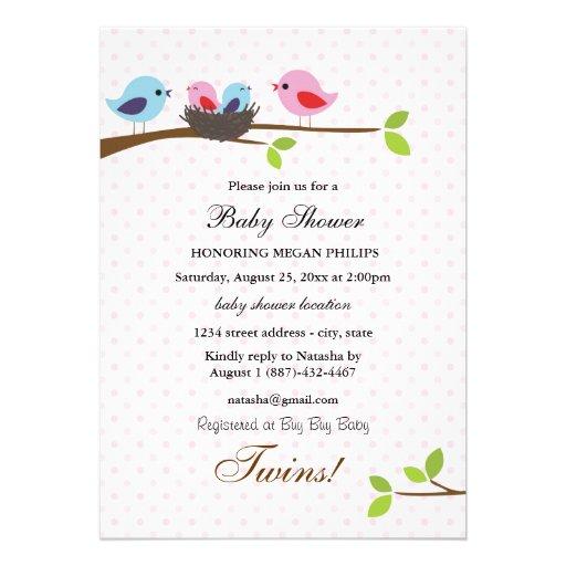 """Family Baby Shower Invitations: Bird Family Twins Baby Shower Invitation 5"""" X 7"""
