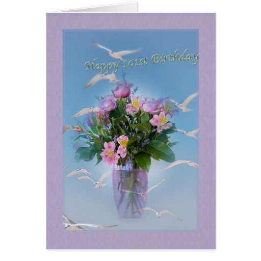 Birthday, 101th, Flowers And Birds Greeting Card