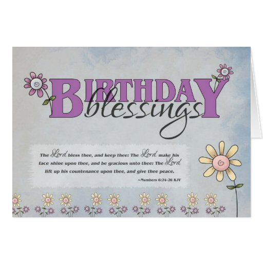 Birthday Blessings Flowers & Bible Verse Card