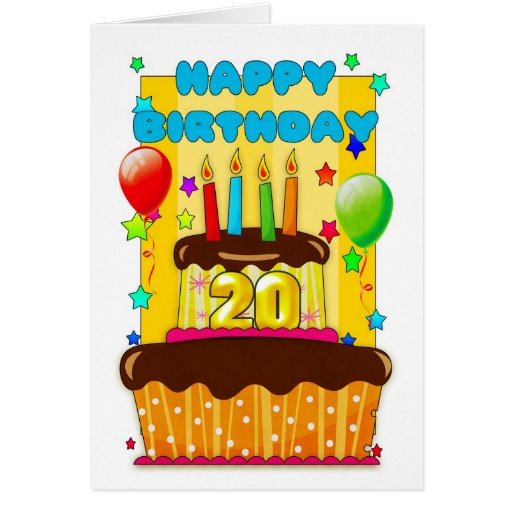Happy Birthday 20th Quotes: Birthday Cake With Candles - Happy 20th Birthday Card