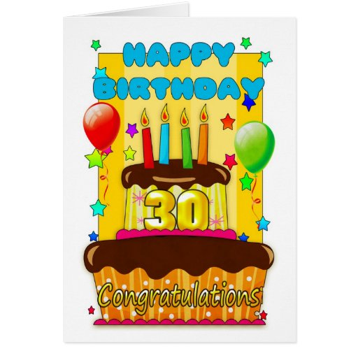 Birthday Cake With Candles - Happy 30th Birthday Card