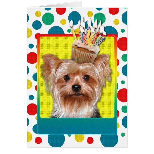 Birthday Cupcake - Yorkshire Terrier Card