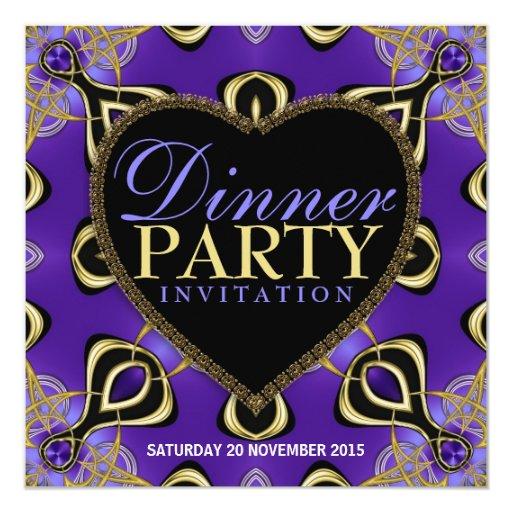 Birthday Dinner Party Purple Gold Invitations