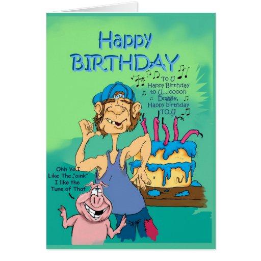 Birthday Hillbillie N Pig With Song Card