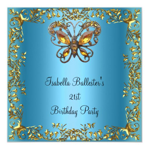 Birthday Party 21st Butterfly Teal Blue Gold Invitation