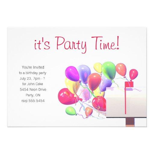 "Birthday Party Invite Balloon Mail 5"" X 7"" Invitation Card"