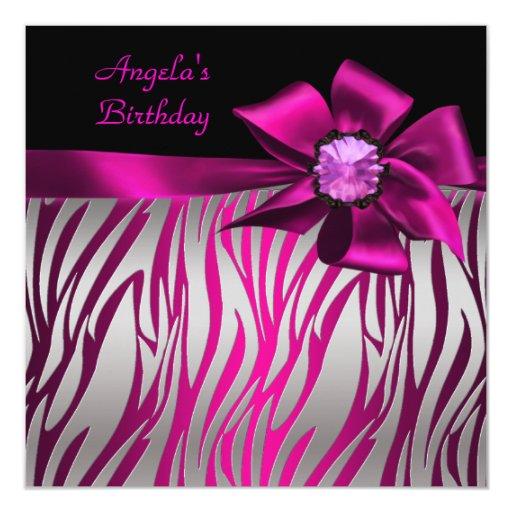 Birthday Party Pink Bow Black Pink Zebra Silver Invitation