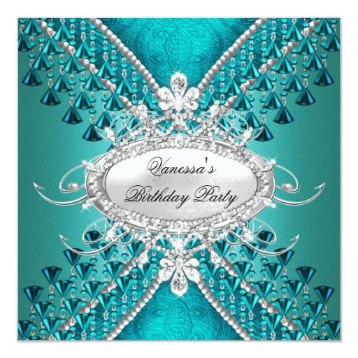 Birthday Party Teal Blue Diamond Beads Card