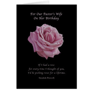 Birthday, Pastor's Wife, Pink Rose on Black Greeting Card