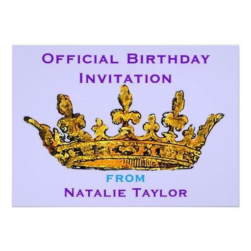 "Birthday Princess Gold Crown Invitation 5"" X 7"" Invitation"